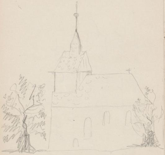 Gebäudeaufriss; Kirche, Gnevikower KircheKircheGnevikowerKircheGnewikow (heute: Ortsteil der Kreisstadt Neuruppin), GnevikowKirche in Gnewikow.
