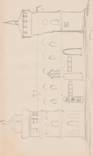Gebäudeaufriss; SpeicherSpeicherGentzrode, Gentzrode. Speicher und WohnturmGentzrode, Speicher mit Wohnturm (Hauptfront).