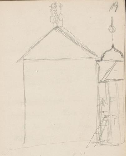 Gebäudeaufriss; TriumphgabelTriumphgabelHerrenhaus der Familie QuastWohnturm in Garz (Herrenhaus).
