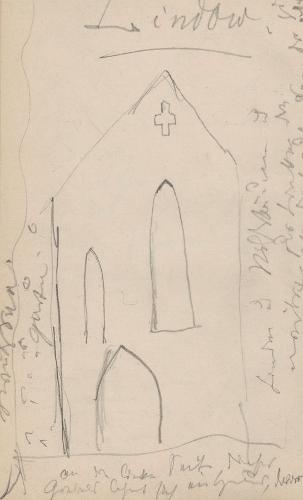 Gebäudeaufriss (Ausschnitt); KlosterKlosterLindow (Mark)Gotische Giebelwand im Kloster Lindow.