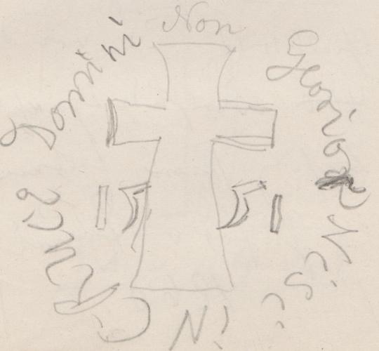 Gebäudegrundriss (Ausschnitt); Taufstein aus Kalkstein [Taufstein]TaufsteinausKalkstein[Taufstein]falseAnonym/nicht ermitteltTaufbecken der Kirche in Gielsdorf.