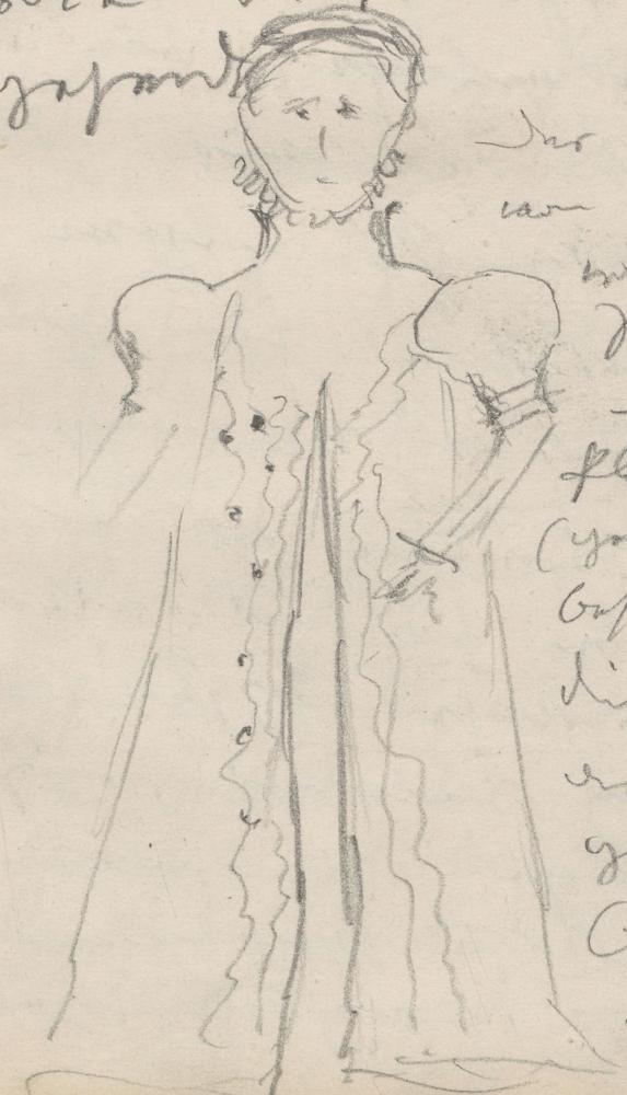 Tracht einer Frau aus dem 16. Jahrhundert.