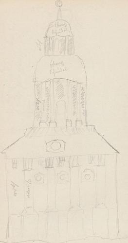 Gebäudeaufriss; SchlosskircheSchlosskircheBuch (heute: Berlin-Buch, Ortsteil des Berliner Bezirkes Pankow)Kirche in Buch.