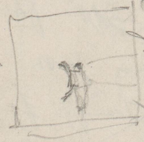 Skizze vom Fuß des Postkutschers.