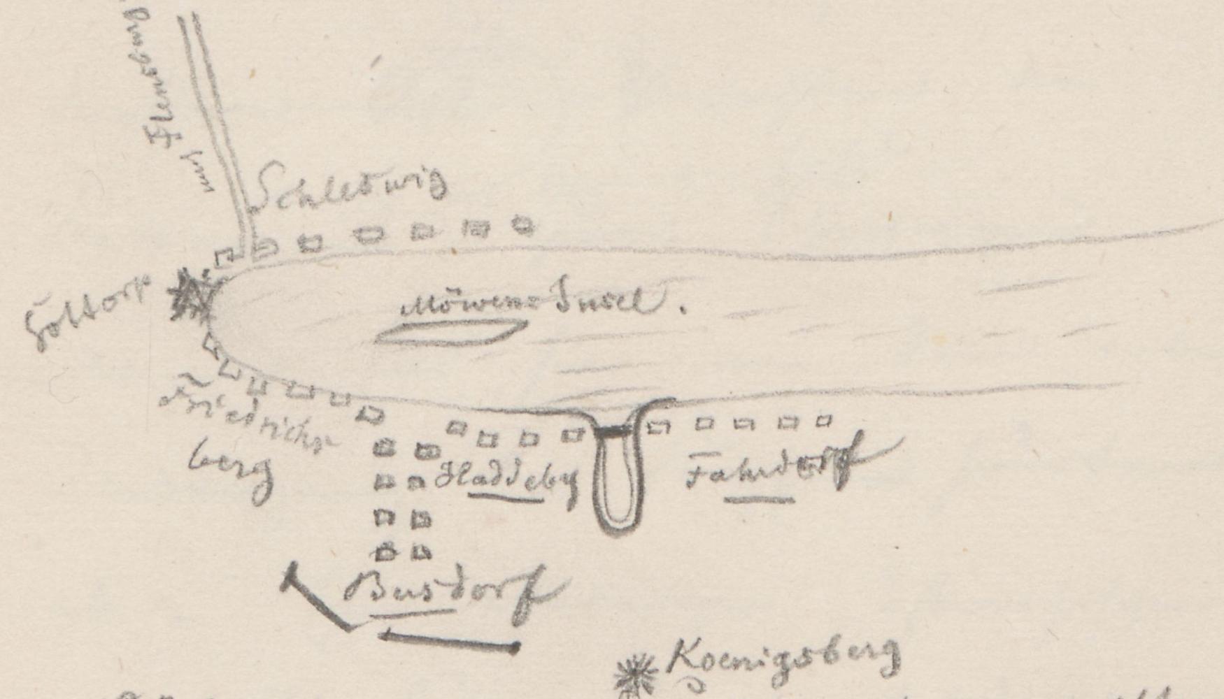 Lageplan des Schlachtfelds; Königshügel (in Schleswig-Holstein), KönigsbergKoenigshuegel(inSchleswig-Holstein)KoenigsbergKönigshügel.
