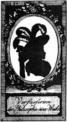 Marianne Ehrmann (Schattenriß, aus: Marianne Ehrmann: Kleine Fragmente für Denkerinnen, Isny 1789)