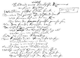 Faksimile des Originalmanuskripts, Vers 1-16.