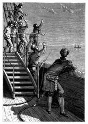 Während die Meuterer den Ausgesetzten ein spöttisches Lebewohl zuriefen... (S. 197.)