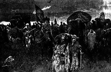 Die Todeskarawane auf dem Wege nach Kerbela. Nach einer Skizze gezeichnet von Albert Richter.