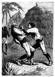 Dick Sand reißt ein Jagdmesser heraus und gräbt es ihm in's Herz. (S. 335.)