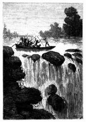 Und der Bootsriemen sprang, von einer Kugel getroffen, in Stücke. (S. 450.)