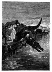 Der Kaiman versetzte ihm aber einen Stoß. (S. 166.)