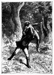 Er ward quer durch den Hochwald fortgeschleppt. (S. 407.)