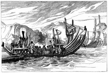 Die Flotte von Otuhiti versammelt sich vor Oparée. [Facsimile. Alter Kupferstich.]