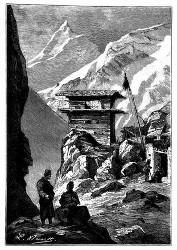 Malerisch an schneebedeckten Bergwänden hängende Dörfer. (S. 199.)