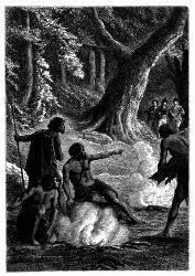 Vier Eingeborne waren beschäftigt, drei kleine Feuer zu unterhalten. (S. 342.)