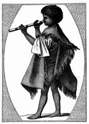 Tahitischer Flötenspieler. [Facsimile. Alter Kupferstich.]