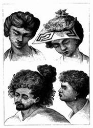 Kopfputz der Bewohner Tahitis. [Facsimile. Alter Kupferstich.] (S. 68.)