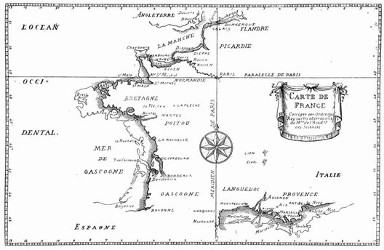 Karte von Frankreich. (Facsimile. Alter Kupferstich.) (S. 7.)