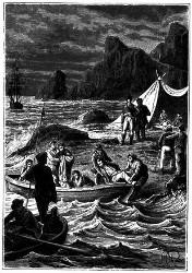 Die Kranken wurden an's Land gebracht. (S. 387.)