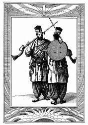 Krieger von Beludschistan. [Facsimile. Alter Kupferstich.]
