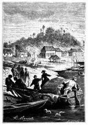 Die Passagiere gingen an einem sanft abfallenden Ufer an's Land. (S. 150.)