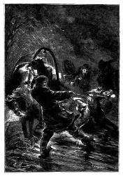 Der Postillon lief eiligst nach vorn zu den Pferden. (S. 60.)