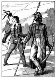 Krieger der Inseln Ombay und Gueba. [Facsimile. Alter Kupferstich.]