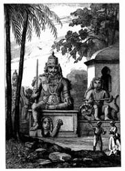 Indische Götzenbilder bei Ponditscherry. [Facsimile. Alter Kupferstich.]