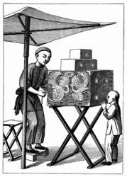 Ein Darsteller mit der Zauberlaterne. [Facsimile. Alter Kupferstich.]