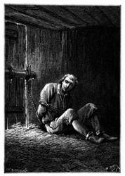 Eng gefesselt ward Dick Sand in eine fensterlose Baracke eingesperrt. (S. 338.)