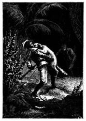 Dingo spürte ihn auf und faßte ihn an der Gurgel. (S. 444.)