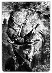 Selkirk stürzte sammt seiner Beute. (S. 19.)