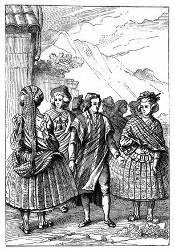 Die Kleidung der Bewohner von Conception. [Facsimile Alter Kupferstich.] (S. 303.)