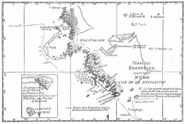 Karte der Verwüstungs-Inseln. [Facsimile. Alter Kupferstich.]