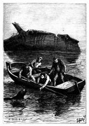 Der Hund schwamm mühsam auf das Boot zu. (S. 29.)
