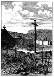 Das Missionshaus von San-Carlos bei Monterey. [Facsimile. Alter Kupferstich.]