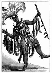 Häuptling der Aschantis im Kriegs-Costüm. [Facsimile. Alter Kupferstich]