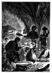 Die Indianer räuchern ihn über einem Feuer von Palmenfrüchten. (S. 163.)