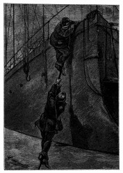 Die Flüchtlinge packten einer nach dem anderen das Tau. (S. 183.)