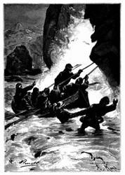 Man mußte bis zum halben Körper im Wasser gehen. (S. 411).