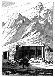 Ansicht des Haupttempels von Sekkeh. [Facsimile. Alter Kupferstich.]