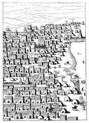 Ansicht eines Theiles von Timbuktu. [Facsimile. Alter Kupferstich.]