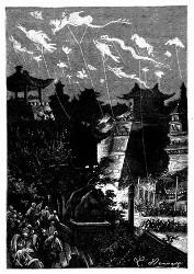 Ungeheure leuchtende Papierdrachen stiegen empor. (S. 141.)
