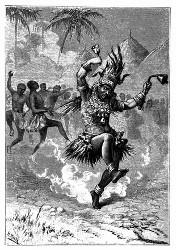 Der Mgannga umkreiste zunächst den großen Platz. (S. 412.)