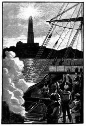 Zu derselben Zeit blitzte dem Schiffe gegenüber ein glänzender Lichtschein auf. (S. 6.)