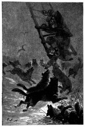 Die Leiter knarrte und krachte unter der Last des Mannes. (S. 16.)