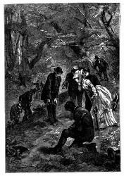 Am Saume des Waldes wurden Spuren eines Kampfes entdeckt. (S. 197)