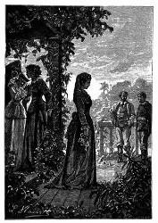 Yaquita trat aus dem Wohnhause. (S. 205.)