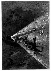 Der »Albatros« ließ seine elektrischen Lichter erglühen. (S. 157.)